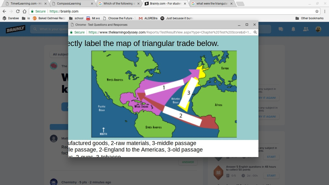 Correctly label the map of triangular trade below. A) 1 ...