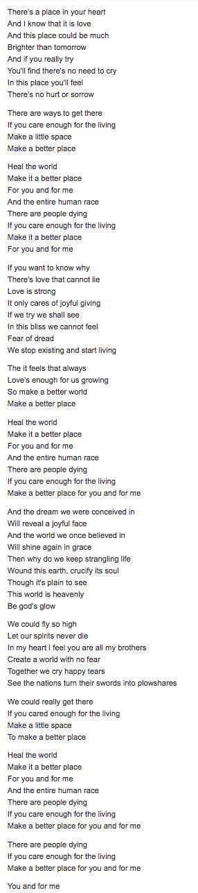 If You Listen To The Lyrics Of The Song Heal The World By Michael Jackson What Message Did He Brainly Com He is completely unaware of the impact he's had until alana and jared point out how the connor project's follower count has spiked since his. lyrics of the song heal the world
