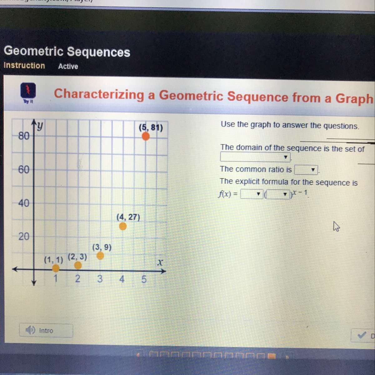 use the graph to answer the questions the domain of the sequence is