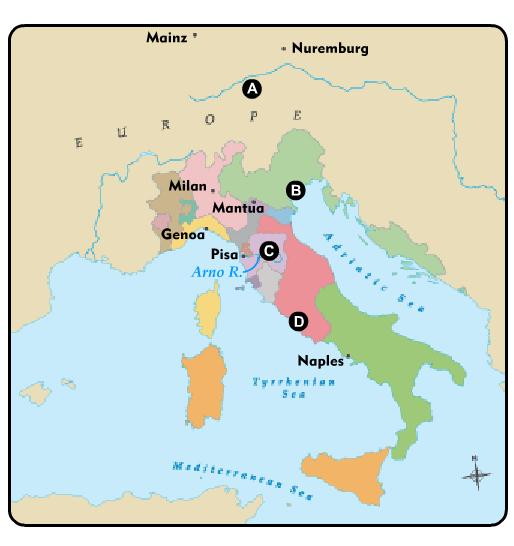 Help please Where is Rome on the map? A. A B. B C. C D. D