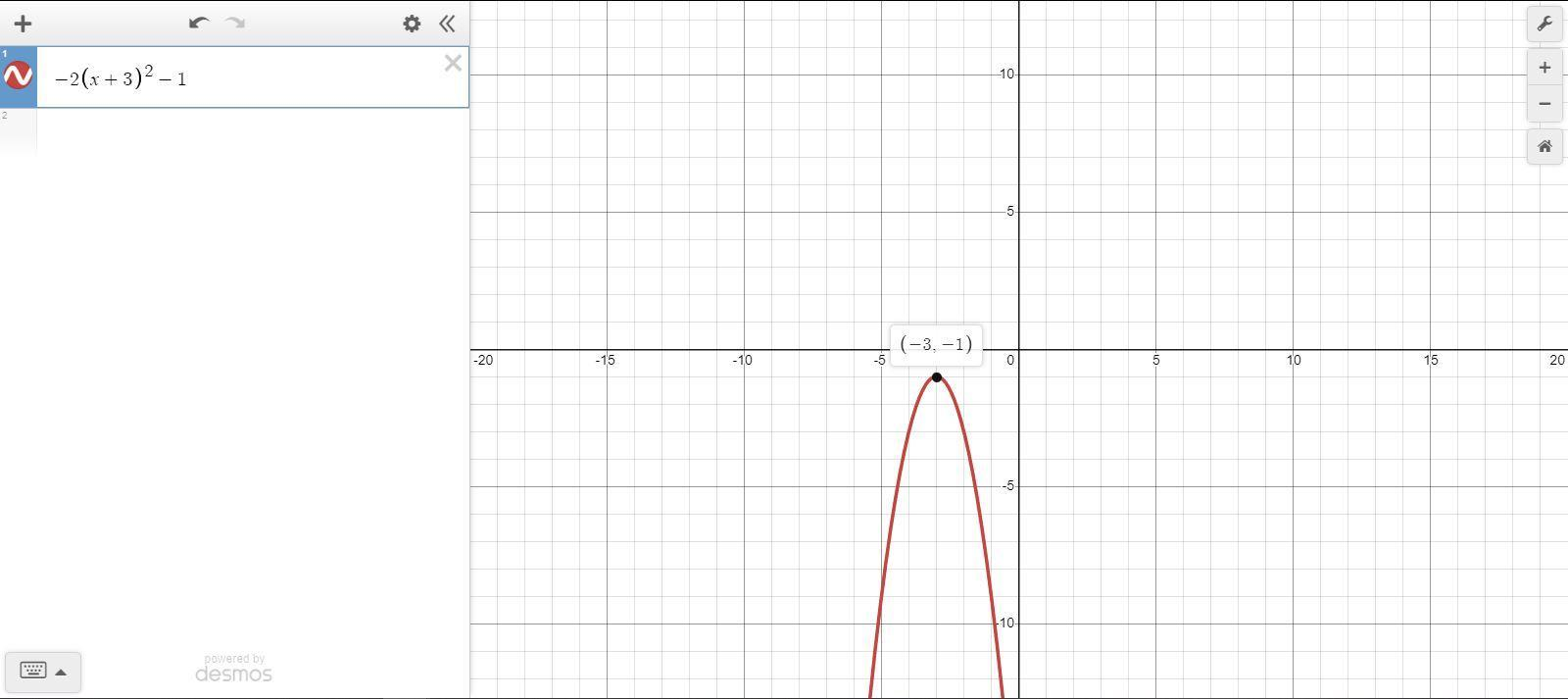 For the function f(x) = −2(x + 3)2 − 1, identify the ...