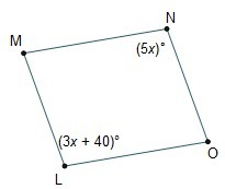 In parallelogram LMNO, what is the measure of angle M? - Brainly.com