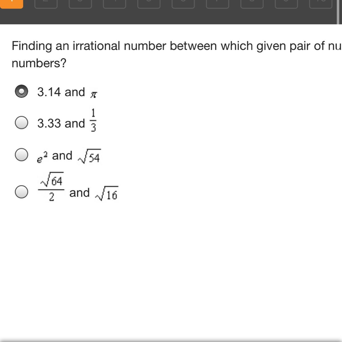 Finding An Irrational Number Between Which Given Pair Of Numbers Supports The Idea That Irrational Brainly Com