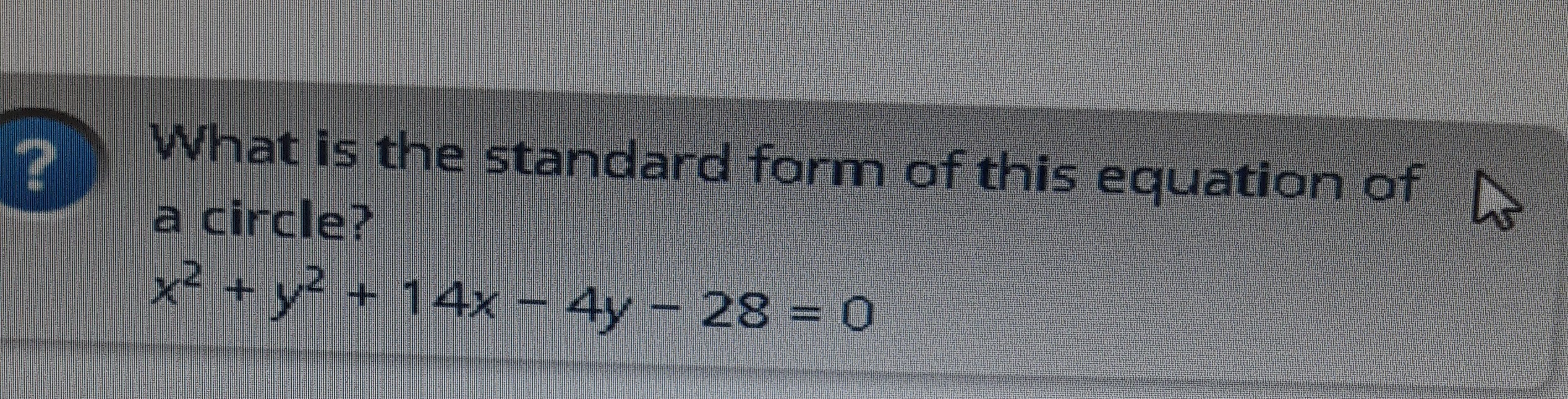 What is the standard form of this equation of a circle brainly what is the standard form of this equation of a circle falaconquin