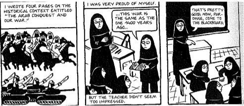Read The Excerpt From Persepolis Which Element Best Illustrate The Central Idea Of These Panels A Brainly Com