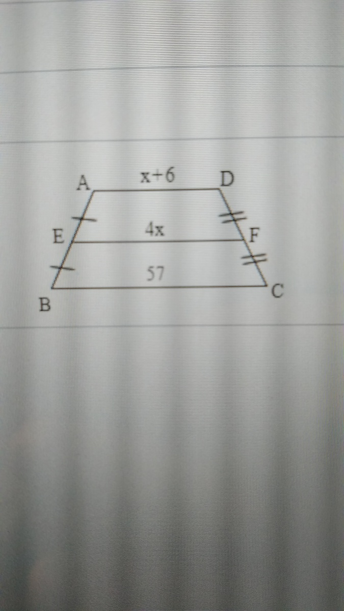 find EF in the trapezoid - Brainly.com